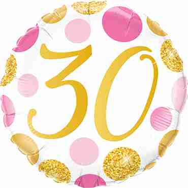 30 Pink and Gold Dots Foil Round 18in/45cm