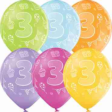 3rd Birthday Pastel Apple Green, Pastel Bright Yellow, Pastel Orange, Pastel Rose, Pastel Lavender and Pastel Sky Blue Assortment Latex Round 12in/30cm