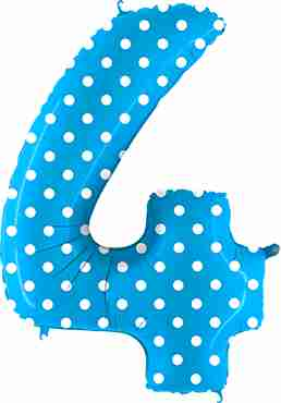 4 Pois Turquoise Foil Number 40in/100cm