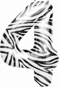 4 Zebra Foil Number 34in/86cm