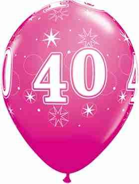 40 Sparkle Fashion Wild Berry Latex Round 11in/27.5cm