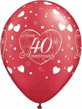 40th anniversary little hearts crystal ruby red (transparent) latex round 11in/27.5cm