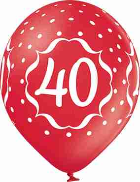 40th Anniversary Metallic Cherry Red Latex Round 12in/30cm