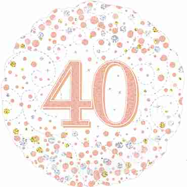 40th Sparkling Fizz Birthday White and Rose Gold Holographic Foil Round 18in/45cm