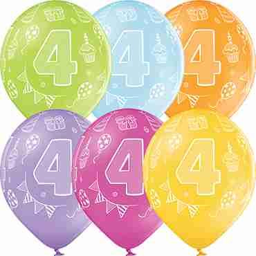4th Birthday Pastel Apple Green, Pastel Bright Yellow, Pastel Orange, Pastel Rose, Pastel Lavender and Pastel Sky Blue Assortment Latex Round 12in/30cm