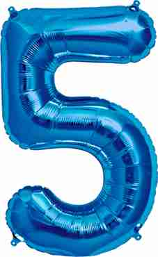 5 Blue Foil Number 16in/40cm