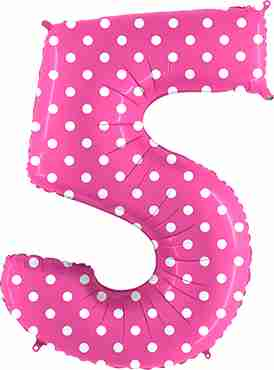 5 Pois Fuchsia Foil Number 40in/100cm