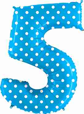5 Pois Turquoise Foil Number 40in/100cm