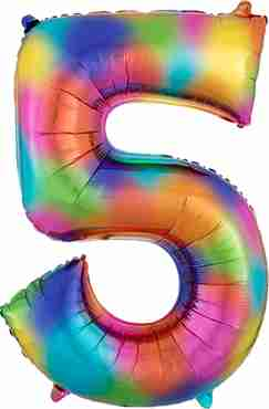 5 Rainbow Splash Foil Number 35in/88cm