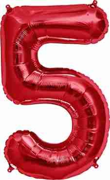 5 Red Foil Number 34in/86cm