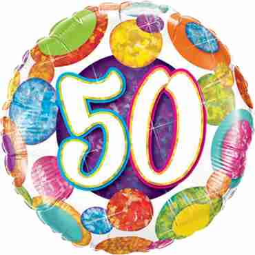 50 Birthday Big Dots and Glitz Holographic Foil Round 18in/45cm