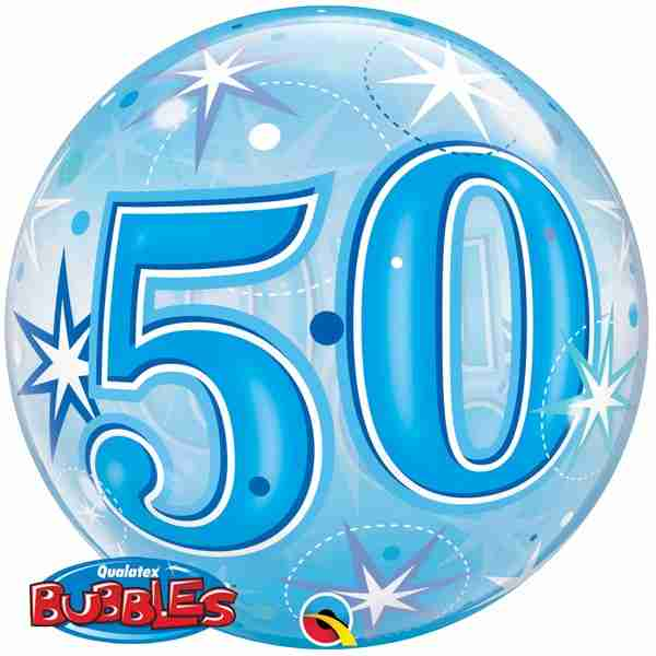 50 Blue Starburst Sparkle Single Bubble 22in/55cm