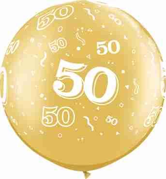 50 Metallic Gold Latex Round 30in/75cm