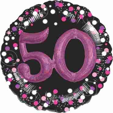 50 Pink Celebration Multi Foil Round 32in/81cm