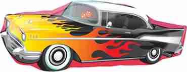 50s Rockin Car Foil Shape 35in/88cm x 13in/33cm