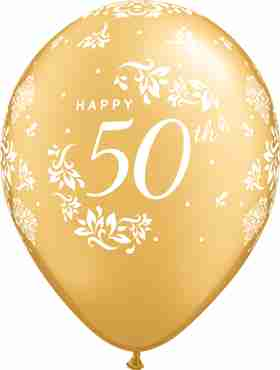50th Anniversary Damask Metallic Gold Latex Round 11in/27.5cm