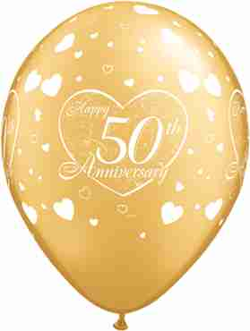 50th Anniversary Little Hearts Metallic Gold Latex Round 11in/27.5cm