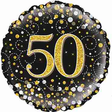 50th Sparkling Fizz Birthday Black and Gold Holographic Foil Round 18in/45cm