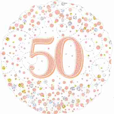50th Sparkling Fizz Birthday White and Rose Gold Holographic Foil Round 18in/45cm