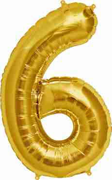 6 Gold Foil Number 7in/18cm