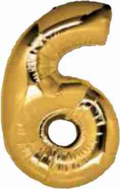 6 Gold Foil Number 8in/20cm