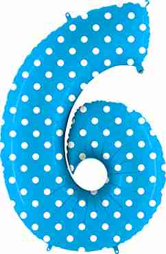 6 Pois Turquoise Foil Number 40in/100cm