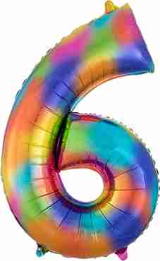 6 Rainbow Splash Foil Number 35in/88cm