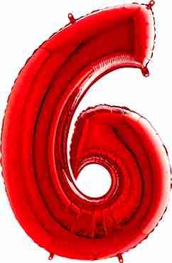 6 Red Foil Number 26in/66cm