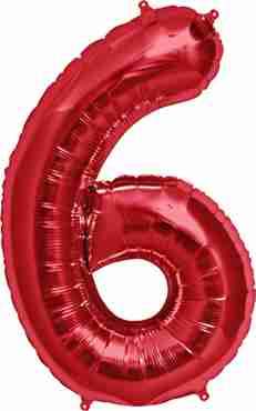 6 Red Foil Number 34in/86cm