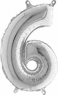 6 Silver Foil Number 26in/66cm