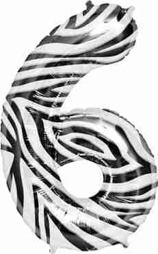 6 Zebra Foil Number 34in/86cm