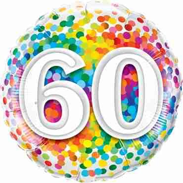 60 Rainbow Confetti Foil Round 18in/45cm