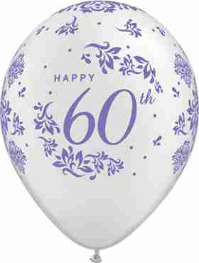 60th Anniversary Damask Pearl White Latex Round 11in/27.5cm
