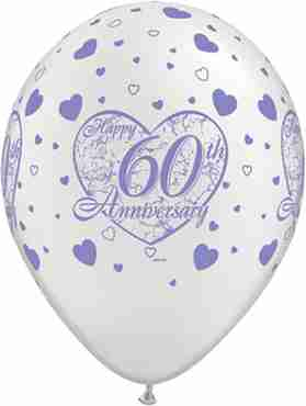 60th Anniversary Little Hearts Pearl White Latex Round 11in/27.5cm