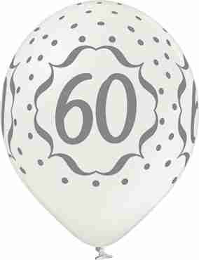 60th Anniversary Metallic Pearl Latex Round 12in/30cm