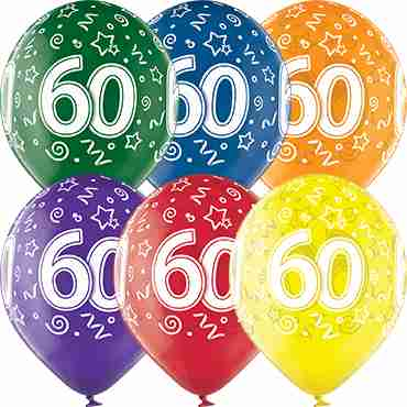 60th Birthday Crystal Green, Crystal Yellow, Crystal Orange, Crystal Royal Red, Crystal Quartz Purple and Crystal Blue Assortment (Transparent) Latex Round 12in/30cm
