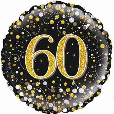 60th Sparkling Fizz Birthday Black and Gold Holographic Foil Round 18in/45cm