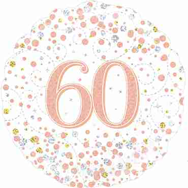 60th Sparkling Fizz Birthday White and Rose Gold Holographic Foil Round 18in/45cm