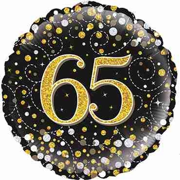 65th Sparkling Fizz Birthday Black and Gold Holographic Foil Round 18in/45cm