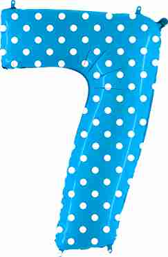 7 Pois Turquoise Foil Number 40in/100cm