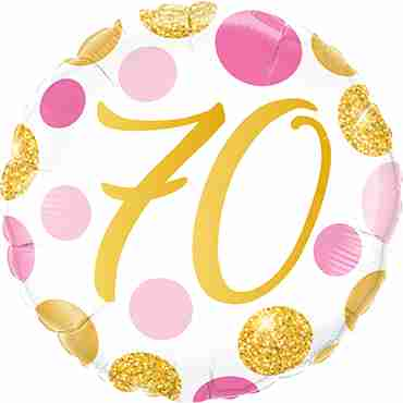 70 Pink and Gold Dots Foil Round 18in/45cm
