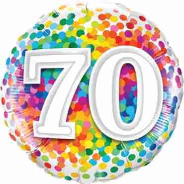70 Rainbow Confetti Foil Round 18in/45cm