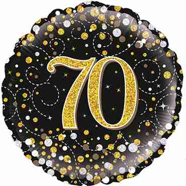 70th Sparkling Fizz Birthday Black and Gold Holographic Foil Round 18in/45cm