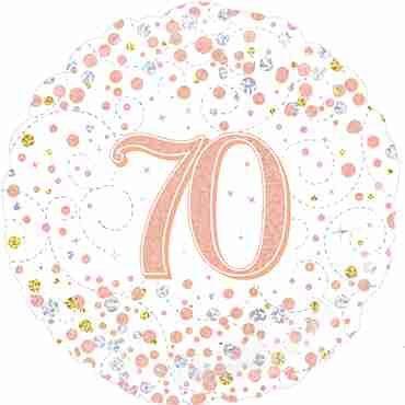 70th Sparkling Fizz Birthday White and Rose Gold Holographic Foil Round 18in/45cm