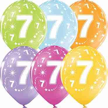 7th Birthday Pastel Apple Green, Pastel Bright Yellow, Pastel Orange, Pastel Rose, Pastel Lavender and Pastel Sky Blue Assortment Latex Round 12in/30cm