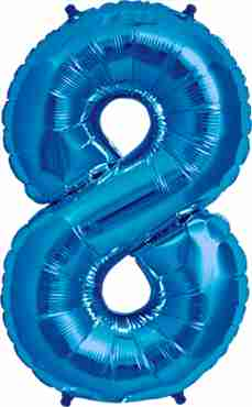8 Blue Foil Number 16in/40cm