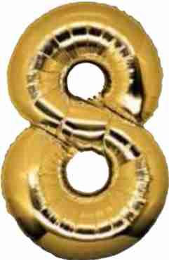 8 Gold Foil Number 8in/20cm