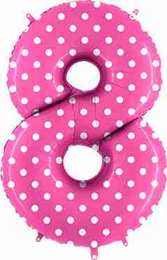 8 Pois Fuchsia Foil Number 40in/100cm