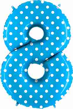 8 Pois Turquoise Foil Number 40in/100cm