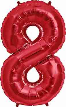 8 Red Foil Number 34in/86cm
